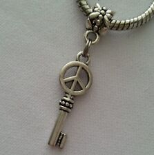 Peace Sign Key Heart Dangle Bead for Silver European Bracelets Or Clip On Charm