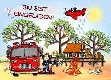 8 Einladungskarten Feuerwehr Geburtstag Kinder Kindergeburtstag Einladungen
