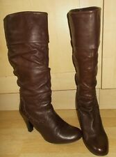 Ladies NEXT Dark Tan Soft Leather Pull On Knee High Boots - Size UK 7 -  EU 41