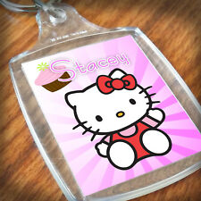 Personalised HELLO KITTY KEYRING, Lunch Bag, daughter niece sister Gift