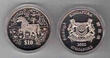 SINGAPORE - CU-NI 10$ UNC COIN 2002 YEAR KM#182 HORSE