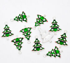 50 SP Enamel Rhinestone Christmas Tree Charm Pendants