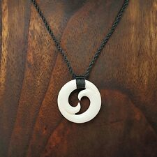 Necklace with Black Hemp Cord Hand Carved Hawaii Double Wave