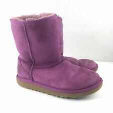 UGG Youth Girls Size 4 Pink Classic Short Boots Suede Shearling Solid
