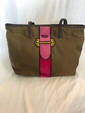 PRADA Nylon Trompe L'oeil Velvet Tote Bag NEW Camel $1650