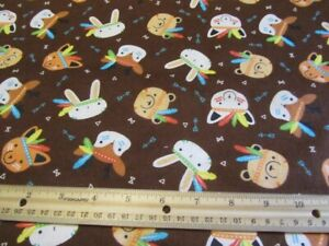 2 Yards Brown Woodland Animal Faces Camelot Flannel Fabric