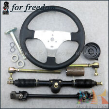 110cc Go Kart Quad Parts 300mm Steering Wheel Assembly 420mm Gear Rack Pinion