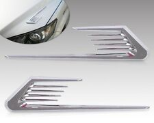 2x Shark Gill Car Side Air Vent Cover Forked Wings Bonnet Hood Sticker Chrome