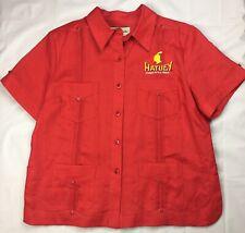 Womens Hatuey Cuban Style Beer Guayabera Shirt Medium Red Mojito Linen