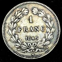 France 1 Franc 1846-A Louis-Philippe 1 - Great Condition  - KM 748.1 - Rare Coin