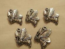 5 BUMBLE BEE Silver Tone charm. Simple & Elegant! FREE P&P
