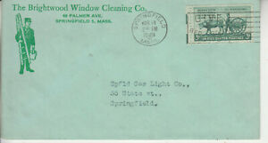 ADVERTISING SPRINGFIELD,MASS. BRIGHTWOOD WINDOW CLEANING MAR 14 1949 GREEN ULTRA
