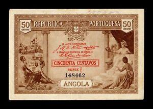 B-D-M Angola 50 Centavos 1923 Pick 63 MBC VF