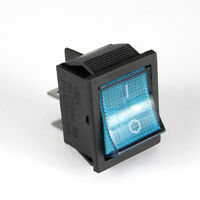 Wippschalter beleuchtet blau 2x ein aus 16A 250 V, 30 x 22 mm SNAP-IN [#1083]