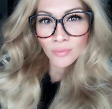Large ELLA Big Thin Rectangular Square Clear Lens Women SEXY Eyeglasses Frames L