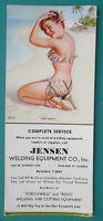 PIN-UP GIRL Miss Nassau Beach + Jensen Welding Equipment - 1950s INK BLOTTER