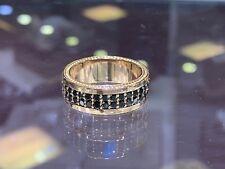 1Ct Round Cut Black Diamond Eternity Band Engagement Ring 14K Yellow Gold Finish