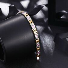 Womens Titanium Stainless Steel Magnetic Therapy Bracelet with Rhinestone Gold A