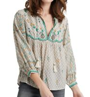 Lucky Brand Womens Top Beige Size Medium M Embroidered Peasant Tassel $119- 472