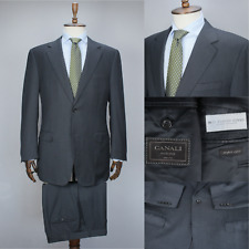 CANALI EXCLUSIVE Grey 150'S WOOL Striped Full Canvas Suit 54 IT 44 US/UK 36X35