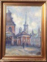 ::OVE CARL SVENSON *1888 ALTE STADT IN DÄNEMARK ? ÖLGEMÄLDE ANTIK RAHMEN KUNST