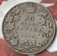 1918 Canada King George 50 Cents- 92.5% AG- 754,989 Minted Only- Nice Coin~