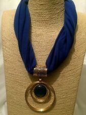 Womens Statement Chunky Long Big Large Gold Blue Fabric Beaded Pendant Necklace