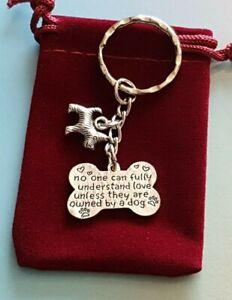 Lovely Westie, Scottie Dog Keyring, Great Gift or Treat, in velvet gift bag
