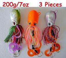 3 pcs Thunder Jigs Each 7oz /200g Octopus Jigging Weight Saltwater Fishing Lure