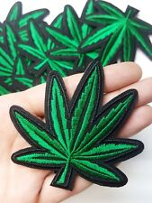 Green & Black Marijuana Pot Leaf Stoner 420, Iron-On/Sew-On Embroidered Patch