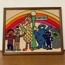 Vintage 70s SESAME STREET Needlepoint Art 19x15 Framed Ernie Big Bird Oscar Burt