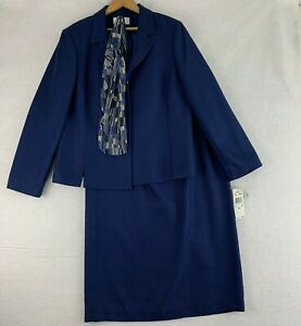 Le Suit Size 16 Jacket Long Skirt Scarf 3PC Set Blue Career Church Lined New