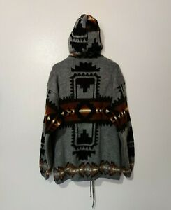 Earth Ragz Men's Aztec Zip Up Sweater Jacket Hoodie XL Acrylic Wool Knit Pockets