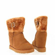 Womens Nature Breeze Brooks-3 Man Made Fabric Fur Wedge Ankle Booties Sz 8 M NEW