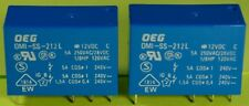 OEG OMI-SS-212L DPDT 12VDC Coil PC Mount Relay 5A @ 250VAC/28VDC Contacts 2 pcs