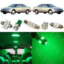 8x Green LED lights interior package kit for 1993-1997 Honda Accord HA4G
