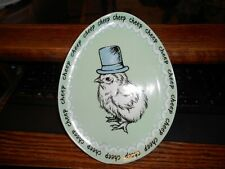 """Grace Porcelain 8 3/4"""" Oval Plate Cheep Grumpy Baby Chick Green w/ Top Hat"""