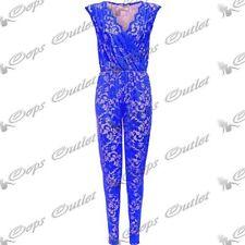 Tute intere e tutine da donna blu floreale senza maniche