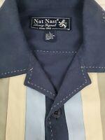 Nat Nast Luxury Originals Mens Short Sleeve Button Bowling Shirt Silk Blend L