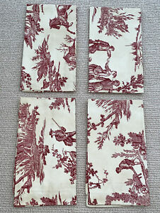 NWT Williams Sonoma 4 Cranberry Red Domaine Toile Cotton Napkins Made in Italy