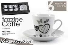 SET TAZZE CAFFè 12 PZ TAZZINE CAFFè 6 TAZZE 6 PIATTI MONAMOUR PORCELLANA ELA