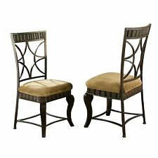 Steve Silver Curved legs, Hamlyn Side Chair In Bronze Finish Set of 2 HL500S New