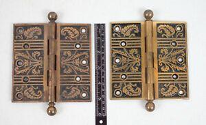 Set of 2 Victorian Hardware Brass Finish 5 inch Heavy Door Hinges
