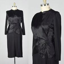 L 1940s Black Cocktail Dress Satin Bodice Peplum Waist Evening Party LBD 40s VTG
