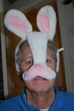"Easter Bunny Rabbit Mask White Fabric Head Band Ears Pink Nose 12"" Plush"