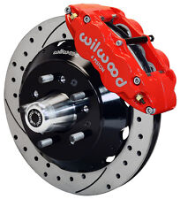 """WILWOOD DISC BRAKE KIT,FRONT,58-70 IMPALA FOR CPP 2"""" DROP,13"""" DRILLED ROTORS,RED"""
