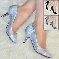 Womens Diamante Mid Heel Pumps Ladies sparkly Court Shoes Evening Size  PD11918