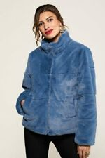 Blue Faux Fur Jacket With Collar Detail