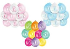 "10 HAPPY 1st BIRTHDAY 9"" BLUE PINK MIX Latex Balloons Party Decoration Air Fill"
