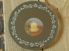 1 edler Spiegel Kerzenteller Rosendekor, rund Ø 12,5 cm, Hochzeit, Kerzenhalter